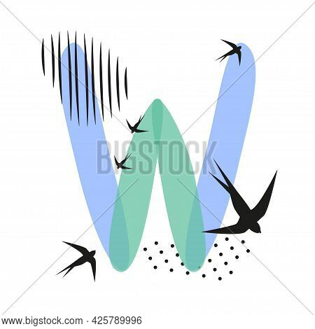 Minimalistic Pattern An Oriental Style In Form Of Letter W. Flock Of Swallows Flies. Abstract Object