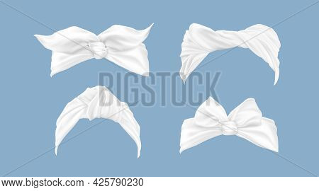 White Headbands, Woman Hair Bandana With Tied Bow. Vector Realistic Set Of Vintage Hairbands, Fabric