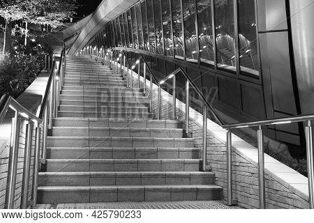 Modern Stairway Of Modern Architecture At Night