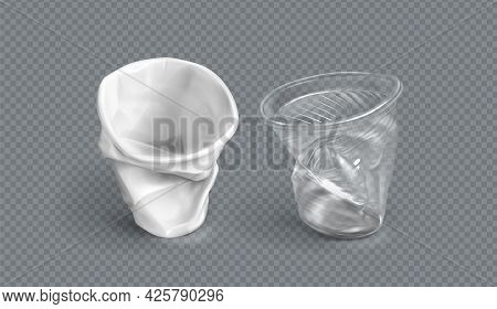 Used Plastic Cups, White And Clear Disposable Glasses. Vector Realistic Set Of Crumpled Empty Cups F