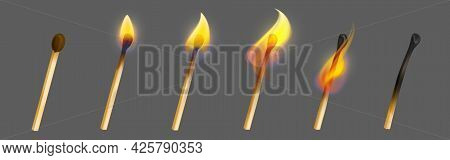 Match Stick With Fire In Different Stage Of Burning. Whole, Ignite And Burnt Wooden Matchstick. Vect