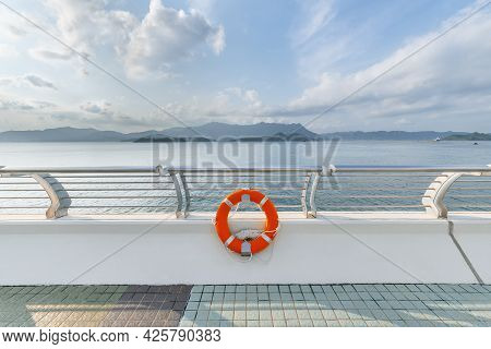 Buoy Of Seaside Promenade. Natural Outdoor Background