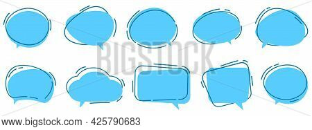 Vector Set Of Speech Bubbles. Dialog Box Icon, Message Template. Blue Clouds For Text, Lettering. Di