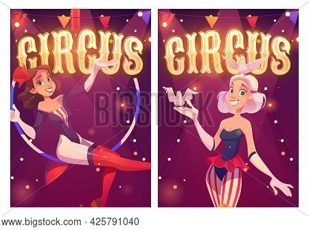 Circus Cartoon Posters For Magic Show Performance. Big Top Tent Artists Aerial Gymnast Girl And Woma