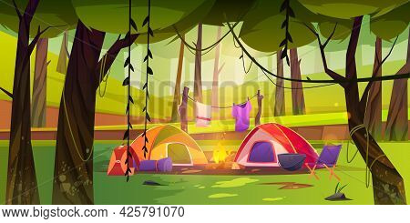 Summer Camp On Forest Glade With Tent And Campfire. Vector Cartoon Landscape Of Woods Or Natural Par