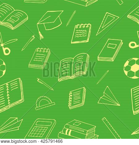 Back To School Seamless Pattern. Hand Drawn Doodle. Vector, Minimalism, Cartoon. Stationery, Books,