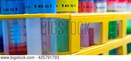 centrifuge test tubes with bio samples for microbial testing