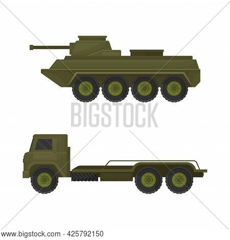 Armoured Tank And Truck As Military Machine And Armored Vehicle For Warfare Vector Set