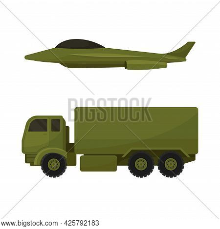 Military Truck And Aircraft As Armored Machine And Vehicle For Warfare Vector Set
