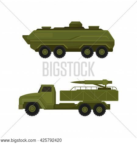 Military Machine And Armored Vehicle For Off-road Track Vector Set
