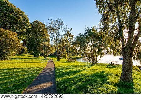 The path along the lake shore. Warm evening on the lake. Magnificent sunset. Comfortable wooden bench. The largest Lake Taupo in New Zealand.