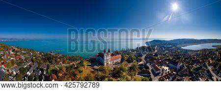Tihany panoramic landscape with the abbey, lake Balaton, Hungary summer.
