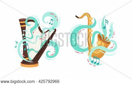 Musical Instruments With Saxophone And Harp Twisted With Decorative Swirling Line And Note Vector Se