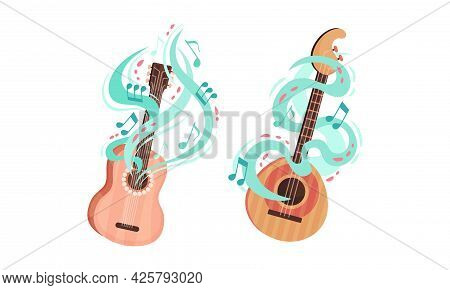 Musical Instruments With Lute And Guitar Twisted With Decorative Swirling Line And Note Vector Set