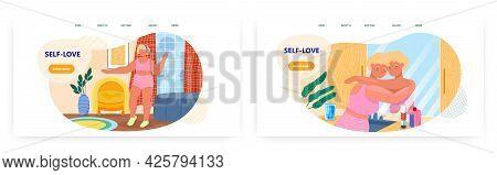 Self-love Landing Page Design, Website Banner Vector Template. Happy Plus Size Woman Dancing. Self E