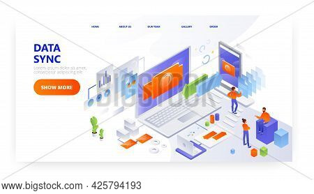 Data Sync Landing Page Design, Website Banner Vector Template. Data Synchronization Process Between