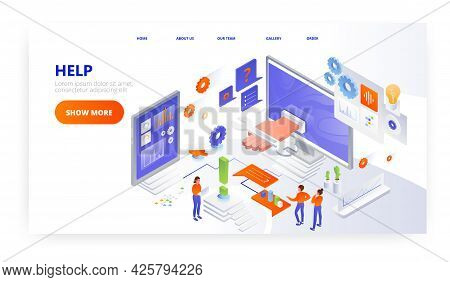 Help Landing Page Design, Website Banner Vector Template. Technical Assistance, Customer Support, Co