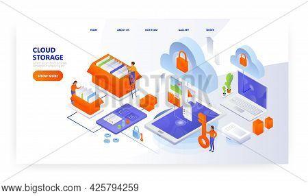 Cloud Storage Landing Page Design, Website Banner Vector Template. Computer Data Storage. Cloud Comp