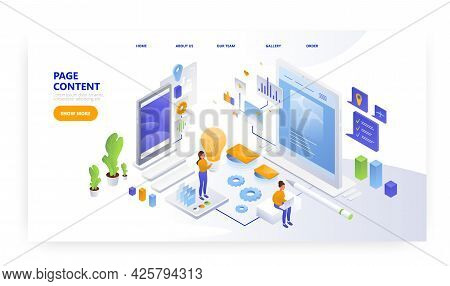Page Content. Landing Page Design, Website Banner Vector Template. People Creating Website Content.