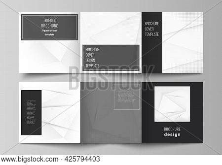 Vector Layout Of Square Cover Design Templates For Trifold Brochure, Flyer, Magazine, Cover Design,