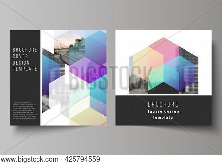 Vector Layout Of Two Square Format Covers Design Templates With Colorful Hexagons, Geometric Shapes,