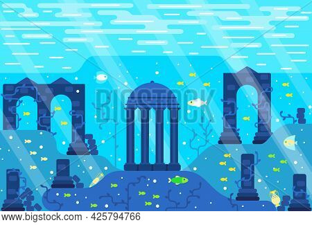 Ruins Of An Ancient City Underwater - Colonnades, Stone Pillars, Greek Amphora, Fishes On The Seabed