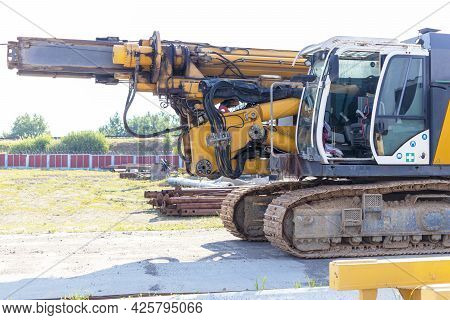 Drilling Rig For The Installation Of Bored Piles In The Transport Position. Powerful Construction Ma