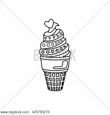Ice Cream In An Outline Waffle Glass. The Icon. Vector Illustration.