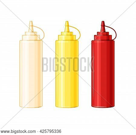 Plastic Bottles With Mayonnaise, Ketchup, Mustard. Sauces For Food On A White Isolated Background. V