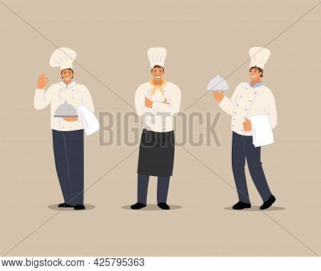 Smiling Chef Set. Characters In A Flat Style. Vector Illustration On An Isolated Background.