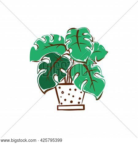 A Green Flower In A Pot With Polka Dots. Home Decor. Hand-drawn Illustration. Vector.