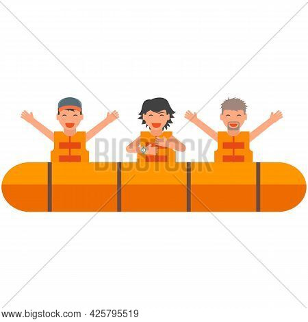 Rescue Lifeboat With People Vector Isolated On White