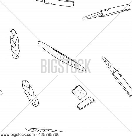 Seamless Pattern Hand Drawn Vector Illustration Of French Baguette, Long Loaf Of Bread. Good For Bac