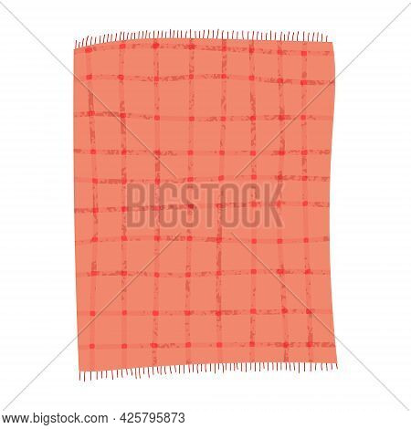 Set Of Hand Drawn Vector Illustration Of Red Or Pink Checkered Picnic Blankets. Cartoon Doodle Style