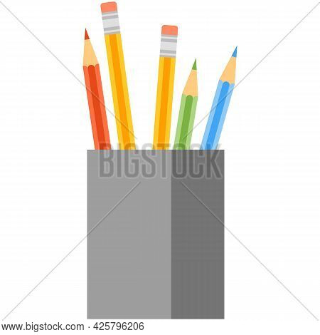 Pencil In Box Holder Vector Isolated On White Background