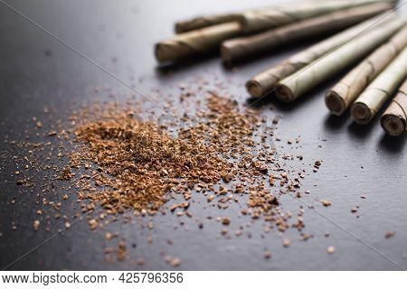 Cannabis Or Marijuana Powder On Wooden Background. Recognized Drug Addiction. Substance Abuse, Addic