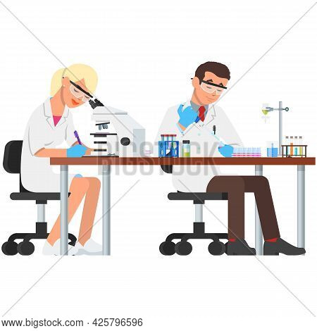 Lab Vector, Laboratory Scientist And Science Experiment