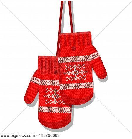 Winter Mittens Vector Isolated Cartoon Glove On White