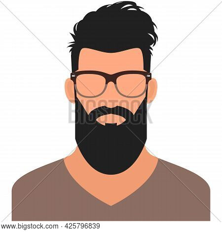 Hipster Man Avatar Icon Vector Isolated On White