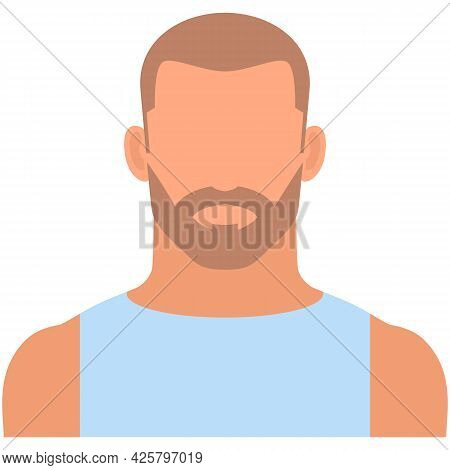 Brutal Bearded Man Avatar Icon Vector Isolated On White
