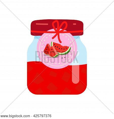 Glass Jar With Homemade Watermelon Jam. Label With Slice Watermelon On A Jar Of Confiture.