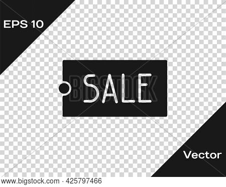 Black Price Tag With An Inscription Sale Icon Isolated On Transparent Background. Badge For Price. P