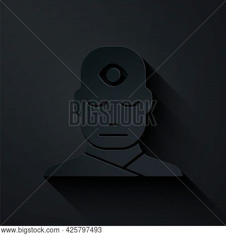 Paper Cut Man With Third Eye Icon Isolated On Black Background. The Concept Of Meditation, Vision Of