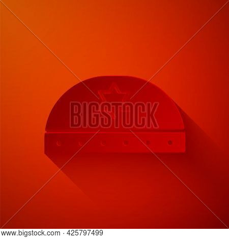 Paper Cut Jewish Kippah With Star Of David Icon Isolated On Red Background. Jewish Yarmulke Hat. Pap