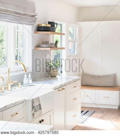 Golden kitchen faucet interior design