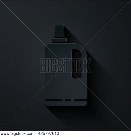 Paper Cut Fabric Softener Icon Isolated On Black Background. Liquid Laundry Detergent, Conditioner,