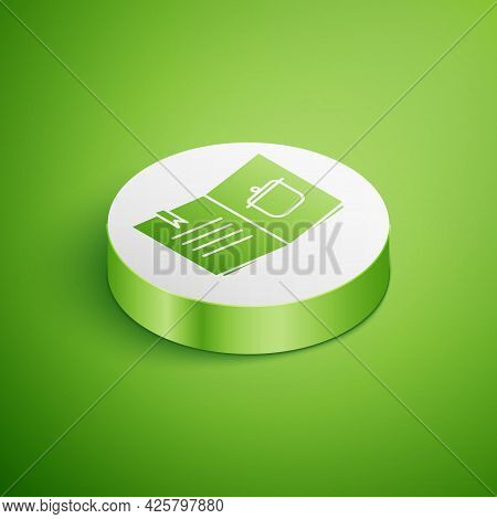 Isometric Cookbook Icon Isolated On Green Background. Cooking Book Icon. Recipe Book. Fork And Knife