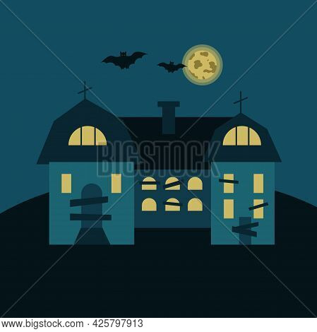 Mysterious House With Crosses On The Roof, Bats On The Background Of The Moon. Gloomy Vector Illustr