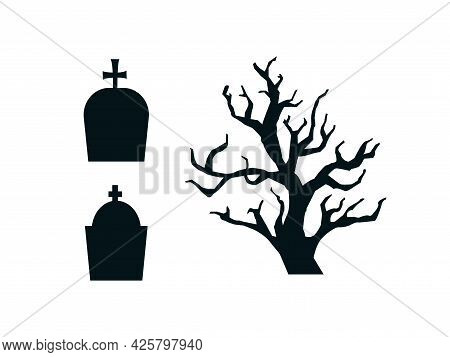Black Contour Silhouettes Of Gravestones And Gloomy Tree Set. Funeral Monuments With Crosses And Tre