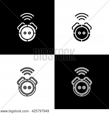 Set Robot Vacuum Cleaner Icon Isolated On Black And White Background. Home Smart Appliance For Autom